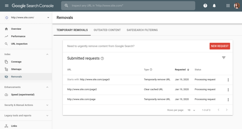Search Console Removals Tool