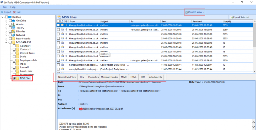 select msg files