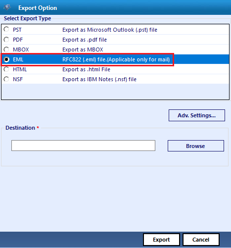 select eml format