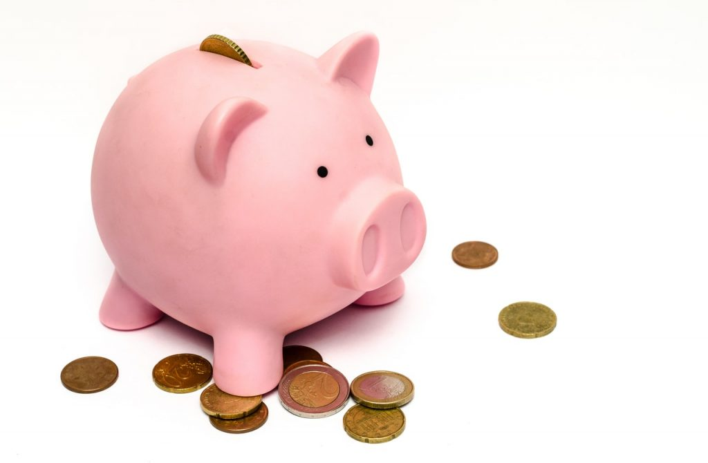 A piggy bank with coins.